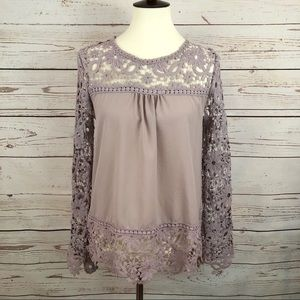 Vintage Mauve Blush Guipure Lace Tunic Top